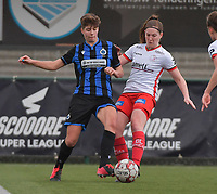Isabelle Iliano (18) of Club Brugge and Anne-Lore Scherrens (22) of Zulte-Waregem  pictured during a female soccer game between SV Zulte - Waregem and Club Brugge YLA on the 13 th matchday of the 2020 - 2021 season of Belgian Scooore Womens Super League , saturday 6 th of February 2021  in Zulte , Belgium . PHOTO SPORTPIX.BE   SPP   DIRK VUYLSTEKE
