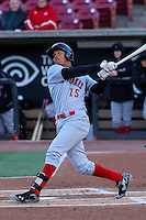 Great Lakes Loons outfielder Ariel Sandoval (15) at bat during a Midwest League game against the Wisconsin Timber Rattlers on April 26th, 2016 at Fox Cities Stadium in Appleton, Wisconsin.  Wisconsin defeated Great Lakes 4-3. (Brad Krause/Four Seam Images)