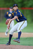 """May 10,2010:  Relief Pitcher/Shortstop Chris """"Cito"""" Culver (1) of the Irondequoit Eagles delivers a pitch in a game vs. the Canandaigua Braves during a Monroe County regular season game at Evans Field in Canandaigua, NY.  The game was called with a 19-19 score after 7 innings because of darkness.  Photo by Mike Janes/Four Seam Images"""