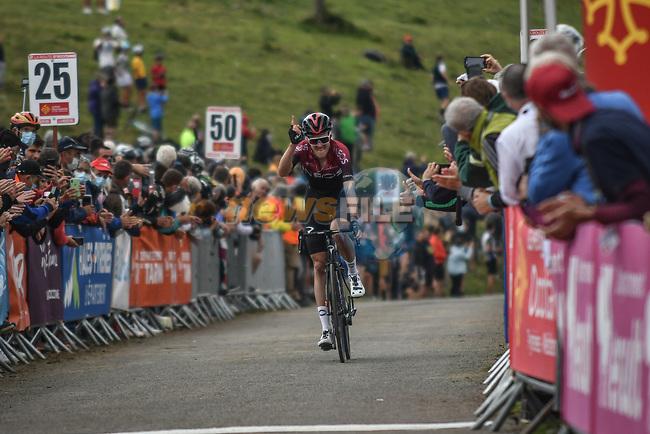 Pavel Sivakov (RUS) happy as team mate Egan Bernal (COL) Team Ineos wins Stage 3 of the Route d'Occitanie 2020, running 163.5km from Saint-Gaudens to Col de Beyrède, France. 3rd August 2020. <br /> Picture: Colin Flockton | Cyclefile<br /> <br /> All photos usage must carry mandatory copyright credit (© Cyclefile | Colin Flockton)