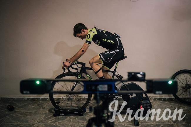 bike-fitting with Simon Yates (GBR/Michelton-Scott)<br /> <br /> Michelton-Scott training camp in Almeria, Spain