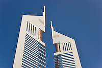 Dubai.  Detail of Emirates Towers in the Financial District housing some of the government?s administrative offices..