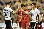Berlin, Germany, February 09: During the FIH Indoor Hockey World Cup Pool A group match between Germany (white) and Trinidad and Tobago(red) on February 9, 2018 at Max-Schmeling-Halle in Berlin, Germany. Final score 10-2. (Photo by Dirk Markgraf / www.265-images.com) *** Local caption *** Christopher RUEHR #17 of Germany Martin ZWICKER #20 of Germany