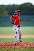 GCL Nationals relief warmup pitcher Jose Jimenez (65) delivers a warmup pitch during the first game of a doubleheader against the GCL Marlins on July 23, 2017 at Roger Dean Stadium Complex in Jupiter, Florida.  GCL Nationals defeated the GCL Marlins 4-0.  (Mike Janes/Four Seam Images)