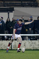 Will Magie of London Scottish kicks for a conversion during the Greene King IPA Championship match between London Scottish Football Club and Nottingham Rugby at Richmond Athletic Ground, Richmond, United Kingdom on 7 February 2020. Photo by Carlton Myrie.