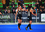 NZ's Rose Keddell and Julia King during the Sentinel Homes Trans Tasman Series hockey match between the New Zealand Black Sticks Women and the Australian Hockeyroos at Massey University Hockey Turf in Palmerston North, New Zealand on Sunday, 30 May 2021. Photo: Dave Lintott / lintottphoto.co.nz