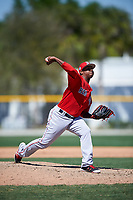 Boston Red Sox pitcher Anyelo Leclerc (50) during a minor league Spring Training game against the Baltimore Orioles on March 16, 2017 at the Buck O'Neil Baseball Complex in Sarasota, Florida. (Mike Janes/Four Seam Images)