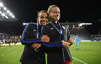 Orlando City, FL - Wednesday March 07, 2018: Mallory Pugh, Emily Sonnett during a 2018 SheBelieves Cup match between the women's national teams of the United States (USA) and England (ENG) at Orlando City Stadium.