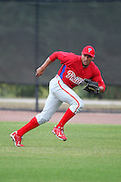 February 24, 2010:  Outfielder Tyson Gillies (70) of the Philadelphia Phillies during practice at Carpenter Complex in Clearwater, FL.  Photo By Mike Janes/Four Seam Images