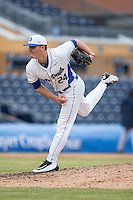 Duke Blue Devils relief pitcher Karl Blum (24) follows through on his delivery against the California Golden Bears at Durham Bulls Athletic Park on February 20, 2016 in Durham, North Carolina.  The Blue Devils defeated the Golden Bears 6-5 in 10 innings.  (Brian Westerholt/Four Seam Images)