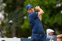 30th May 2021; Fort Worth, Texas, USA;  Jordan Spieth hits his tee shot on #9 during the final round of the Charles Schwab Challenge on May 30, 2021 at Colonial Country Club in Fort Worth, TX.