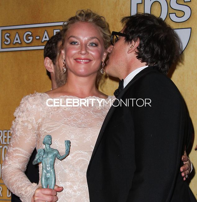 LOS ANGELES, CA - JANUARY 18: Elisabeth Rohm, David O. Russell in the press room at the 20th Annual Screen Actors Guild Awards held at The Shrine Auditorium on January 18, 2014 in Los Angeles, California. (Photo by Xavier Collin/Celebrity Monitor)