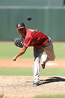 Arizona Diamondbacks pitcher Anthony Banda (32) during an Instructional League game against the Oakland Athletics on October 10, 2014 at Chase Field in Phoenix, Arizona.  (Mike Janes/Four Seam Images)