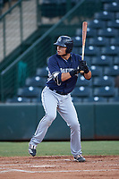 Tirso Ornelas (14), of the AZL Padres 1, at bat during an Arizona League game against the AZL Angels on August 5, 2019 at Tempe Diablo Stadium in Tempe, Arizona. AZL Padres 1 defeated the AZL Angels 5-0. (Zachary Lucy/Four Seam Images)