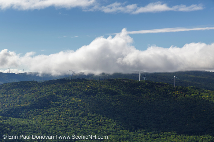 Wind Farm on Tenney Mountain from Rattlesnake Mountain in Rumney, New Hampshire USA.