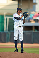 Pulaski Yankees starting pitcher Luis Medina (30) looks to his catcher for the sign against the Princeton Rays at Calfee Park on July 14, 2018 in Pulaski, Virginia. The Rays defeated the Yankees 13-1.  (Brian Westerholt/Four Seam Images)