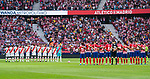 Players of Rayo Vallecano and Atletico de Madrid line up prior to the La Liga 2018-19 match between Atletico de Madrid and Rayo Vallecano at Wanda Metropolitano on August 25 2018 in Madrid, Spain. Photo by Diego Souto / Power Sport Images