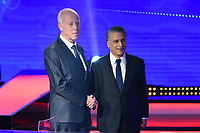 Tunisia's presidential candidates Kais Saied (L), 61, an independent conservative academic, and business tycoon Nabil Karoui (R), 56, attend a debate before the second round of the presidential elections on October 11, 2019 in Tunis. - The frontrunner in Tunisia's presidential election runoff are head-to-head tonight against his rival in a rare and highly anticipated televised debate just two days ahead the vote.