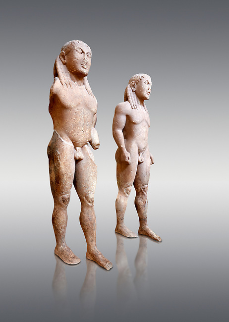 Archaic Ancient Greek marble statue of 2 Kouros Known as the Twins of Argos sculpted in Argos circa 580 BC, Delphi National Archaeological Museum.   Against grey.