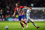 Filipe Luis (L) of Atletico de Madrid competes for the ball with Julian Omar Ramos Suarez, Omar R, of CD Leganes during the La Liga 2017-18 match between Atletico de Madrid and CD Leganes at Wanda Metropolitano on February 28 2018 in Madrid, Spain. Photo by Diego Souto / Power Sport Images