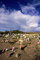 Cemetary with wooden crosses. New Mexico.