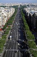 Avenue des Champs-Élysées as seen from Arc de Triomphe, Paris, France.