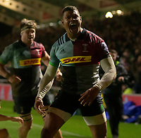 Harlequins' Nathan Earle celebrates scoring his side's second try<br /> <br /> Photographer Bob Bradford/CameraSport<br /> <br /> Gallagher Premiership Round 9 - Harlequins v Exeter Chiefs - Friday 30th November 2018 - Twickenham Stoop - London<br /> <br /> World Copyright © 2018 CameraSport. All rights reserved. 43 Linden Ave. Countesthorpe. Leicester. England. LE8 5PG - Tel: +44 (0) 116 277 4147 - admin@camerasport.com - www.camerasport.com