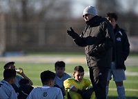 NWA Democrat-Gazette/CHARLIE KAIJO Springdale High School head coach Donald Beeler talks to his players during a soccer game, Friday, March 15, 2019 at Bentonville West in Centerton.