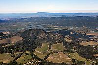 aerial photograph of vineyards in the Atlas Mountains across Napa Valley towards the Mayacamas Mountains and Mount Tamalpais,  Napa County,  California