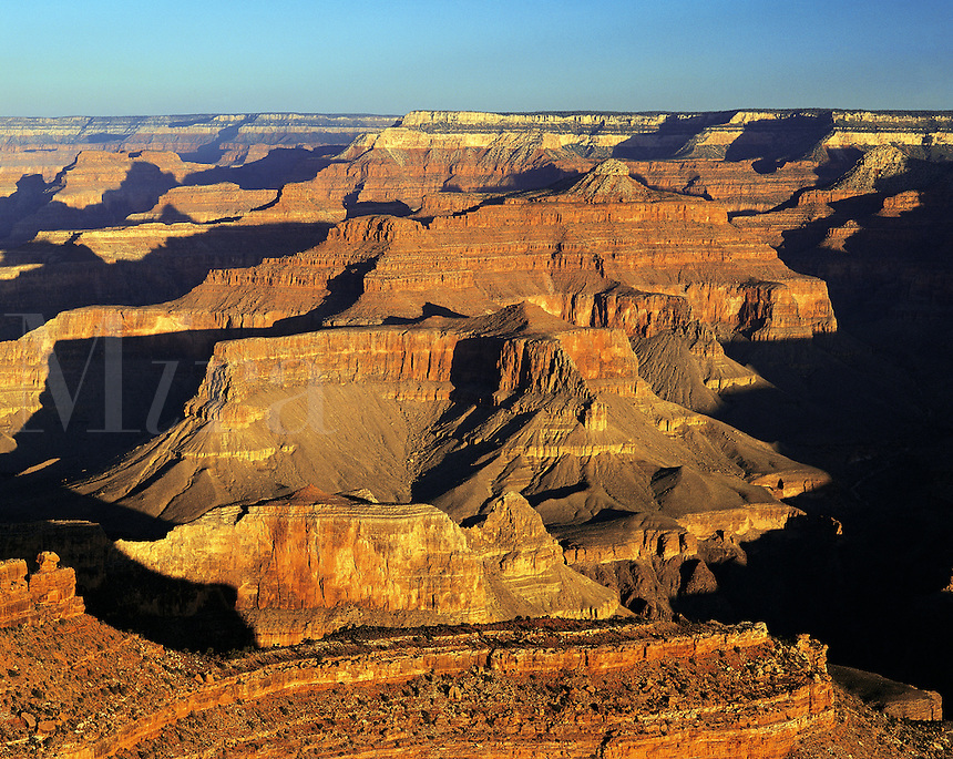 Grand Canyon from South Rim, in dramatic dawn light