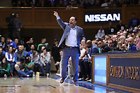 DUKE, NC - FEBRUARY 15: Head coach Mike Brey of the University of Notre Dame yells instructions to his team during a game between Notre Dame and Duke at Cameron Indoor Stadium on February 15, 2020 in Duke, North Carolina.