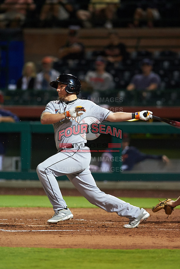 Mesa Solar Sox outfielder Austin Dean (12) at bat during an Arizona Fall League game against the Scottsdale Scorpions on October 20, 2015 at Scottsdale Stadium in Scottsdale, Arizona.  Mesa defeated Scottsdale 5-4.  (Mike Janes/Four Seam Images)
