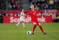 CARSON, CA - FEBRUARY 07: Sophie Schmidt #13 of Canada moves to the ball during a game between Canada and Costa Rica at Dignity Health Sports Complex on February 07, 2020 in Carson, California.