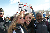 Students at Newton North High School walked out of classes to protest gun violence a month after 17 people were killed in the Parkland Florida massacre. 3.15.18