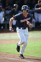 Ruben Cardenas #4 of the Cal State Fullerton Titans runs the bases during a game against the Stanford Cardinal at Goodwin Field on February 19, 2017 in Fullerton, California. Stanford defeated Cal State Fullerton, 8-7. (Larry Goren/Four Seam Images)