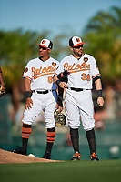 Baltimore Orioles second baseman Christopher Bostick (68) and third baseman Renato Nunez (39) during a Grapefruit League Spring Training game against the Detroit Tigers on March 3, 2019 at Ed Smith Stadium in Sarasota, Florida.  Baltimore defeated Detroit 7-5.  (Mike Janes/Four Seam Images)