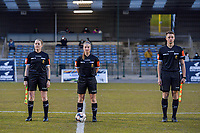referee Heidi Houtthave , referee Jana Van Laere , assistant referee Seeldrayers Michele pictured before a female soccer game between FC Femina White Star Woluwe and Sporting Charleroi on the 2nd matchday of Play off 2 in  the 2020 - 2021 season of Belgian Scooore Womens Super League , friday 16 th of April 2021  in Woluwe , Belgium . PHOTO SPORTPIX.BE   SPP   STIJN AUDOOREN