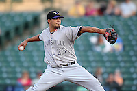 Louisville Bats pitcher Pedro Villarreal #23 during a game against the Rochester Red Wings at Frontier Field on May 15, 2012 in Rochester, New York.  Rochester defeated Louisville 5-4.  (Mike Janes/Four Seam Images)