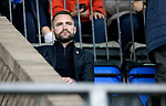 St Johnstone v Dundee…02.10.21  McDiarmid Park.    SPFL<br />Dundee manager James McPake pictured in the stands for today's game after being sent off last week.<br />Picture by Graeme Hart.<br />Copyright Perthshire Picture Agency<br />Tel: 01738 623350  Mobile: 07990 594431