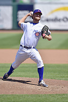 Michael Wagner (33) of the Iowa Cubs  throws in relief against the New Orleans Zephyrs at Principal Park on April 23, 2015 in Des Moines, Iowa.  The Zephyrs won 9-2.  (Dennis Hubbard/Four Seam Images)