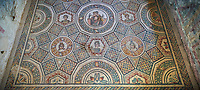 Wide picture of the Roman mosaics of the Cubilcle with Erotic Scene, a geometric mosiac with an erotic scene at its center, room no 48 at the Villa Romana del Casale, first quarter of the 4th century AD. Sicily, Italy. A UNESCO World Heritage Site.