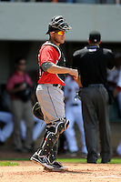 Indianapolis Indians catcher Tony Sanchez #26 during a game versus the Pawtucket Red Sox at McCoy Stadium in Pawtucket, Rhode Island on May 19, 2013.  (Ken Babbitt/Four Seam Images)