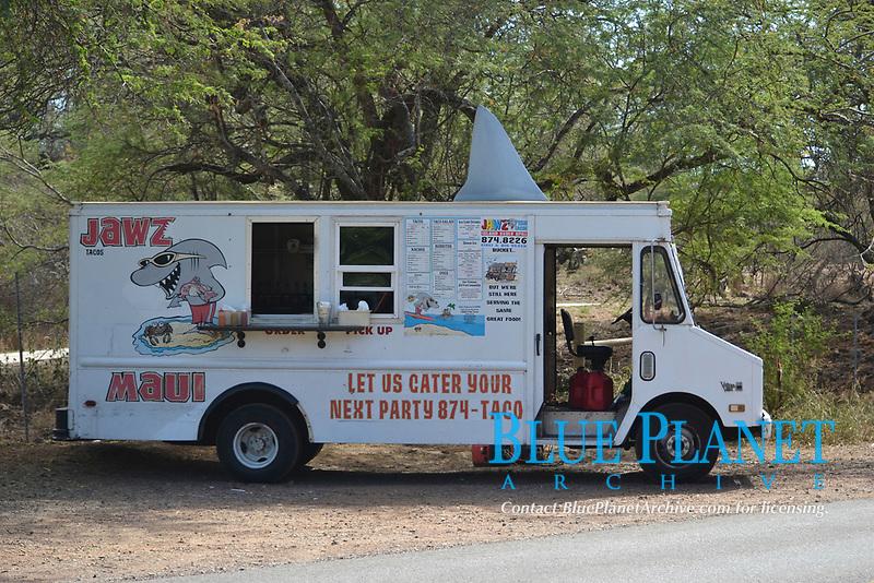 "Food truck ""Jawz"" with a shark fin on top, Maui, Hawaii, USA"