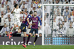 Real Madrid CF's Sergio Reguilon and FC Barcelona's Sergio Busquets, Gerard Pique (R) during the King's Cup semifinals match. February 27,2019. (ALTERPHOTOS/Alconada)
