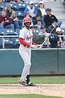 Ti'Quan Forbes (10) of the Spokane Indians bats during a game against the Everett AquaSox at Everett Memorial Stadium on July 24, 2015 in Everett, Washington. Everett defeated Spokane, 8-6. (Larry Goren/Four Seam Images)