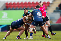 6th February 2021; Mattoli Woods Welford Road Stadium, Leicester, Midlands, England; Premiership Rugby, Leicester Tigers versus Worcester Warriors; Zack Henry of Leicester Tigers is stopped by Ethan Waller and Beck Cutting of Worcester Warriors