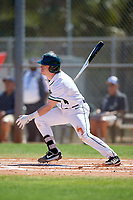 Dartmouth Big Green second baseman Sean Sullivan (4) hits an infield single during a game against the Villanova Wildcats on March 3, 2018 at North Charlotte Regional Park in Port Charlotte, Florida.  Dartmouth defeated Villanova 12-7.  (Mike Janes/Four Seam Images)