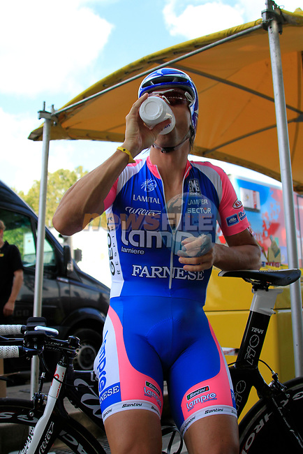 Danilo Hondo (GER) Lampre-Farnese Vini relaxes before the start of Stage 19 of the 2010 Tour de France an individual time trial running 52km from Bordeaux to Pauillac, France. 24th July 2010.<br /> (Photo by Eoin Clarke/NEWSFILE).<br /> All photos usage must carry mandatory copyright credit (© NEWSFILE | Eoin Clarke)