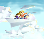 Illustration of happy children on paper plane flying against cloudy sky representing aspiration