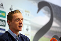 Thursday 06 February 2014<br /> Pictured: Head coach Garry Monk<br /> Re: The first Swansea City FC press conference with Garry Monk as head coach after the departure of manager Michael Laudrup, at the Liberty Stadium, south Wales.